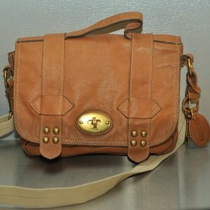 Fossil Tan Leather Messenger Bag